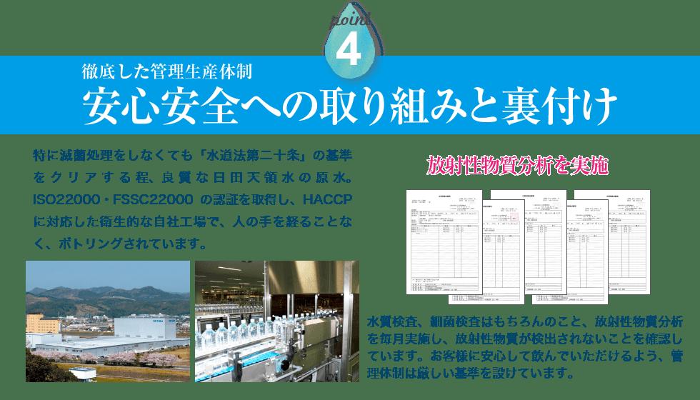 徹底した生産管理体制。安心安全への取り組みと裏付け。特に滅菌処理をしなくても「水道法第二十条」の基準をクリアする程、良質な日田天領水の原水。ISO22000の認証を取得し、HACCPに対応した衛生的な自社工場で、人の手を経ることなく、ボトリングされています。水質検査、細菌検査はもちろんのこと、放射性物質分析を毎月実施し、放射性物質が検出されないことを確認しています。お客様に安心して飲んでいただけるよう、管理体制は厳しい基準を設けています。